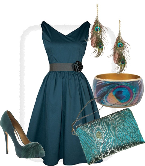 Peacock Dress, created by littleolivia on Polyvore