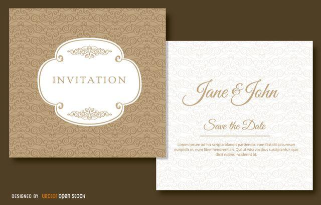 Vectores gratis: Invitaciones de aniversario o boda II