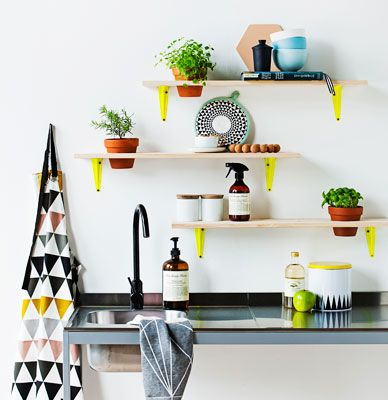Neon & wood shelving