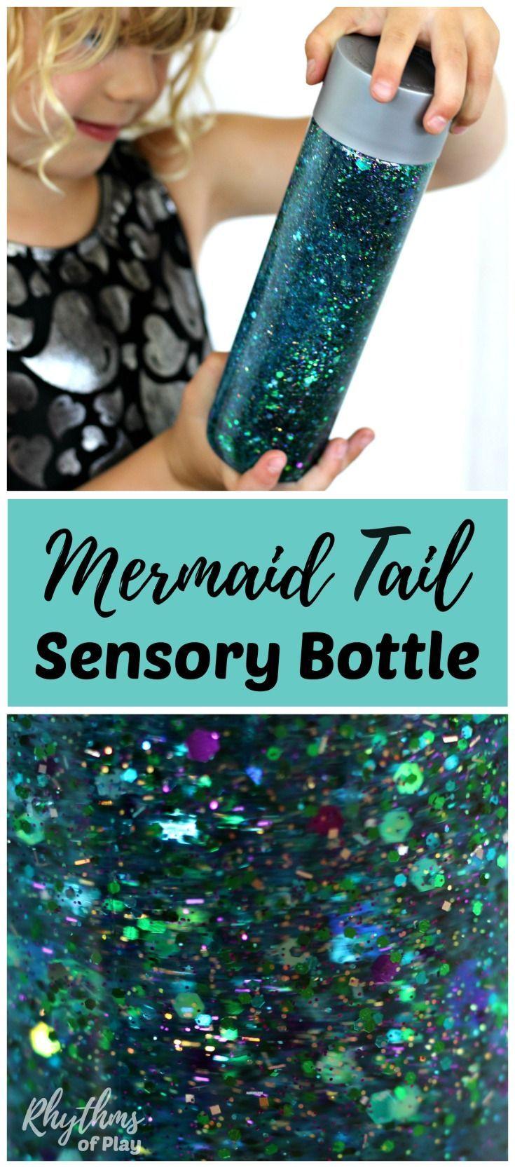 Learn how to make your own glittering mermaid tail sensory bottle! Calm down discovery jars like this glitter sensory bottle can be used for portable no mess safe sensory play, calming an overwhelmed child, and helping children learn to self-regulate. Babies, toddlers, and preschoolers can safely investigate a soothing glittering objectwithout the risk of choking.