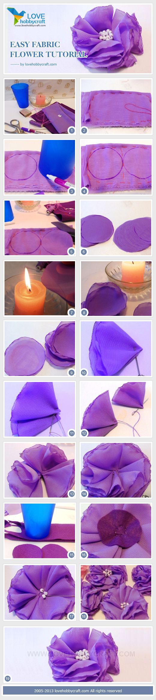 easy fabric flower tutorial. Use something different in the middle. Big sparkly gem?