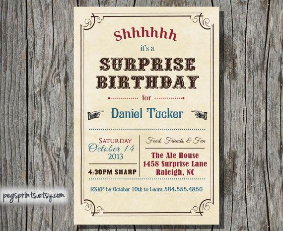 Free adult surprise birthday invitations printable