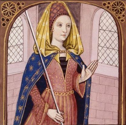 XXXIV-Hécube, reine de Troie et épouse de Priam (HECUBA, queen of the Trojans) -- Giovanni Boccaccio (1313-1375), Le Livre des cleres et nobles femmes, v. 1488-1496, Cognac (France), traducteur anonyme. -- Illustrations painted by Robinet Testard -- BnF Français 599 fol. 28v -- See more at: https://commons.wikimedia.org/wiki/File:H%C3%A9cube_BnF_Fran%C3%A7ais_599_fol._28v.jpg
