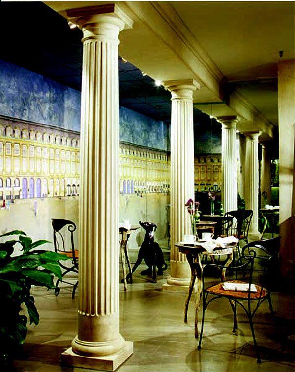 Polystone fiberglass columns tuscan capitals bases for Fiberglass interior columns
