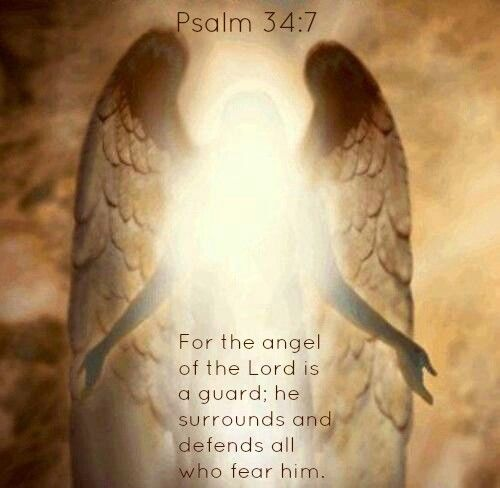 Psalm 34:7 - For the angel of the Lord is a guard; he surrounds and defends all who fear him.