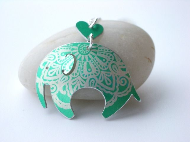 Elephant pendant necklace in jade green £28.00