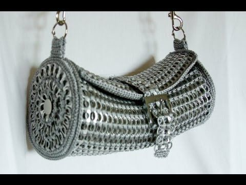 Crochet Video Pattern -'Kala' Purse Made With Aluminium Can Pulls.  Visit http://www.patternblogs.com/crochet-video-pattern-kala-purse-aluminium-pulls/ for all three parts back to back.