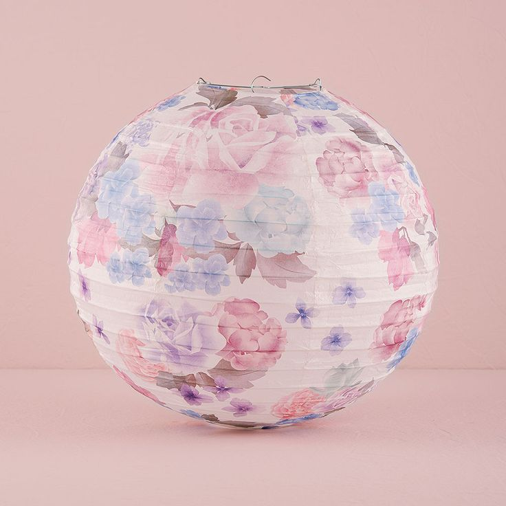 Round Paper Lantern with Vintage Floral Print Medium