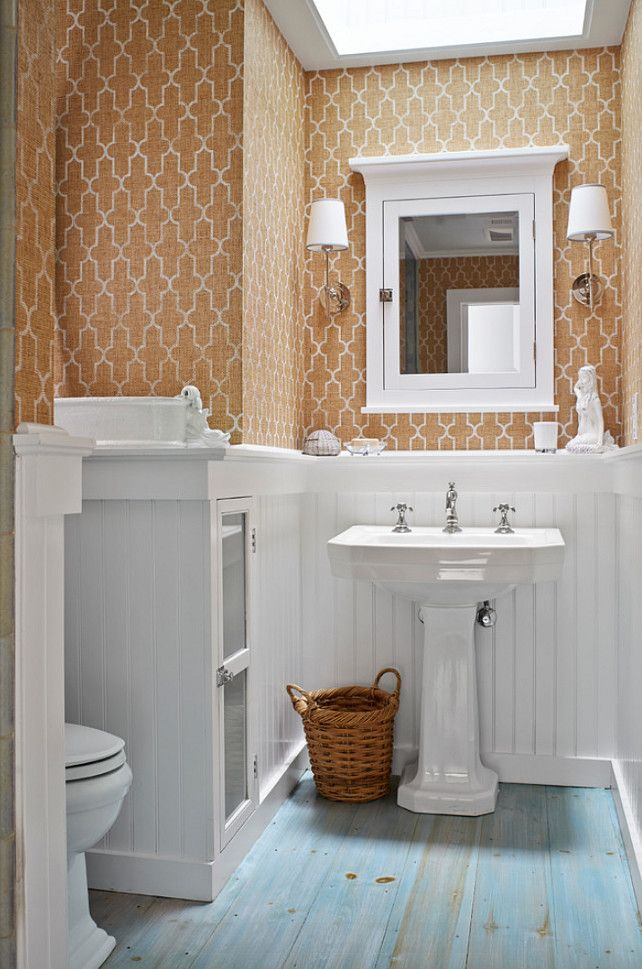 Bathroom with grasscloth wallpaper grassclothwallpaper for Bathroom wallpaper ideas