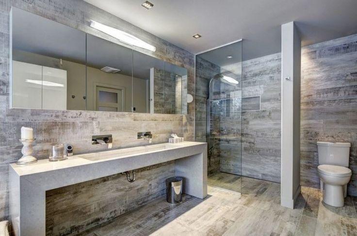 Carrelage sol salle de bain imitation bois en 15 id es top - Salle de bain rectangulaire ...