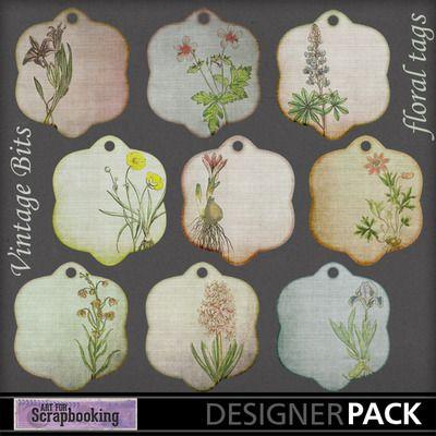 Vintage Bits-Floral Tags