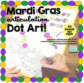 Mardi Gras Articulation Dot Art {all sounds & NO PREP!} Just print and go for a activity that makes articulation drill FUN (for readers or non-readers) and then doubles as speech homework!