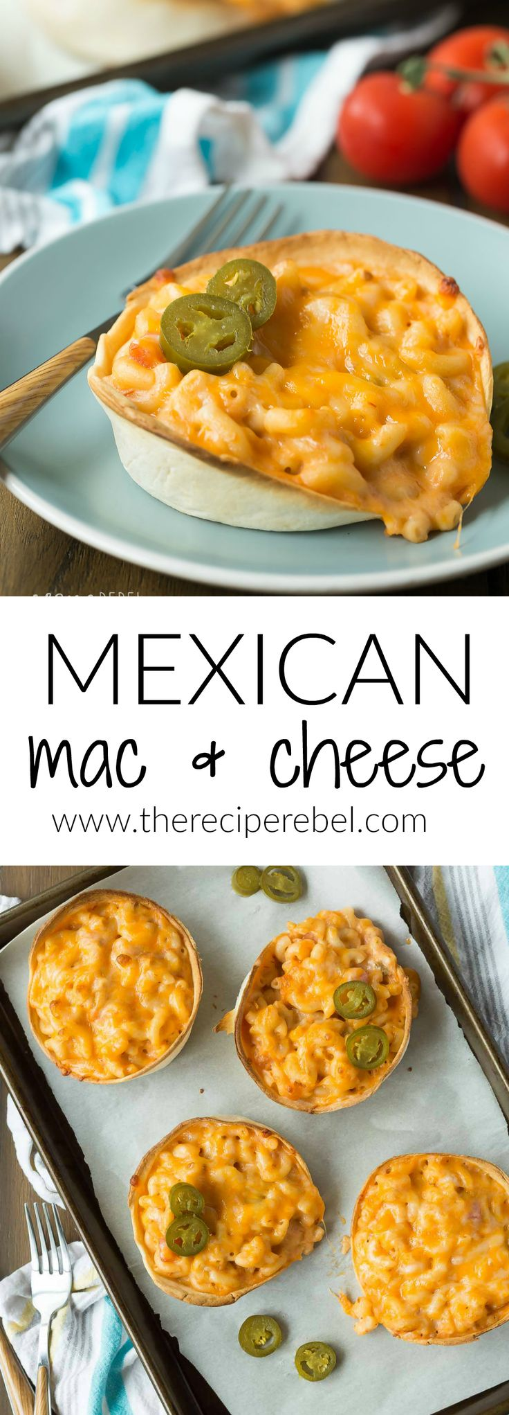 This Mexican Baked Mac and Cheese is packed with flavor from taco seasoning, salsa and baked in a tortilla bowl for a fun twist on taco night! The kids LOVE it!