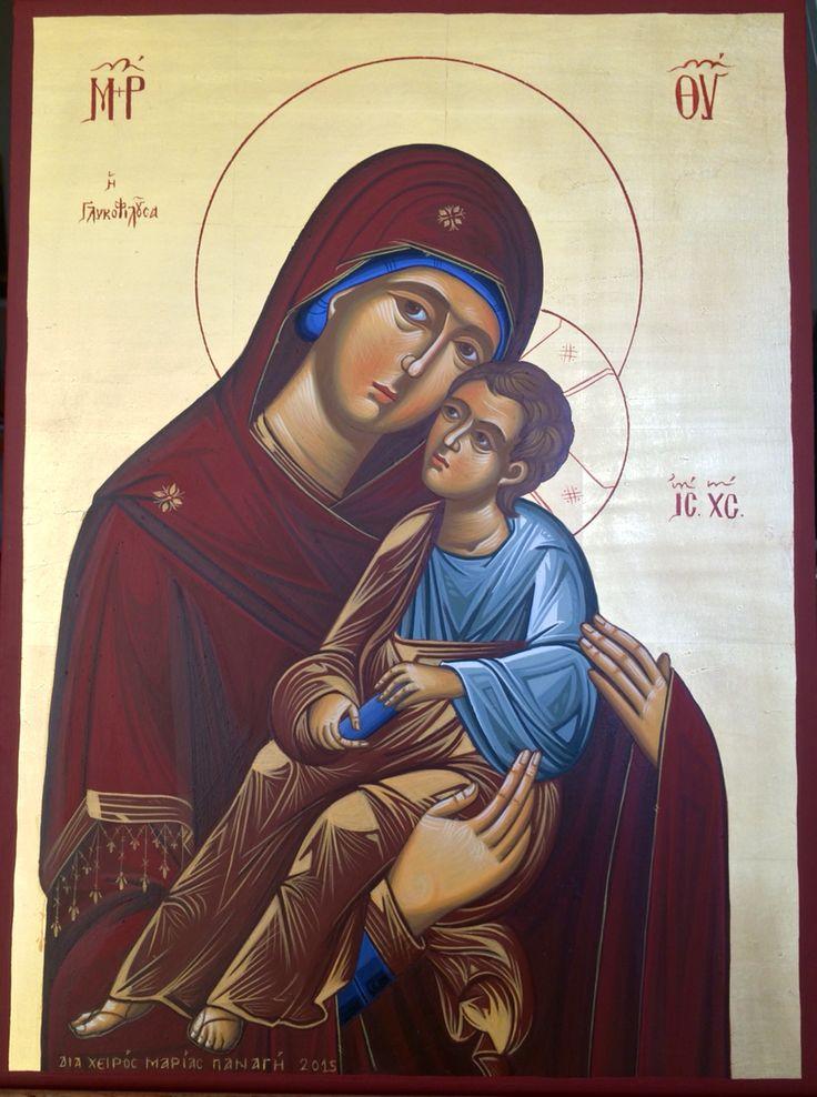 Παναγία Γλυκοφιλούσα 30x40cm Αγιογραφία σε ξύλο Διά χειρός Μαρίας Παναγή