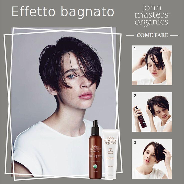 Leviamoci la soddisfazione di un effetto bagnato sui nostri capelli ottenuto solo con prodotti ecosostenibili: la lacca Hair Spray e il latte per capelli Hair Milk, entrambi prodotti John Masters Organics, entrambi 100% organici ed entrambi vegan!
