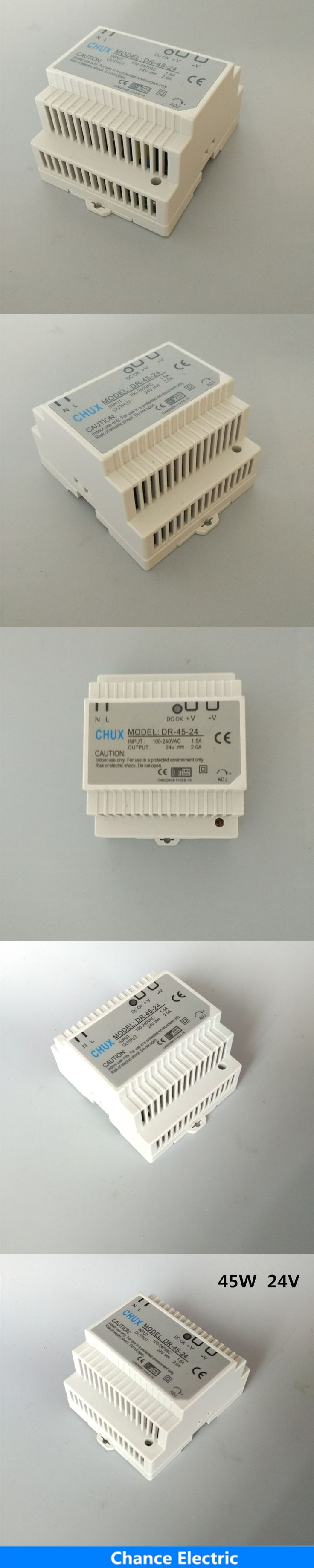 DR-45-24 LED Din Rail mounted Power Supply Transformer 110V 220V AC to DC 24V 2A 45W Output Free Shipping