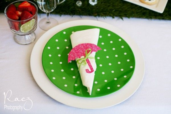 This green polka dotted plate really stands out against a basic white dish.