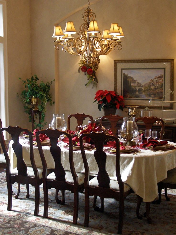 Decoration Awesome Dining Rooms With Christmas Decor Table Setting In Classic Elegant
