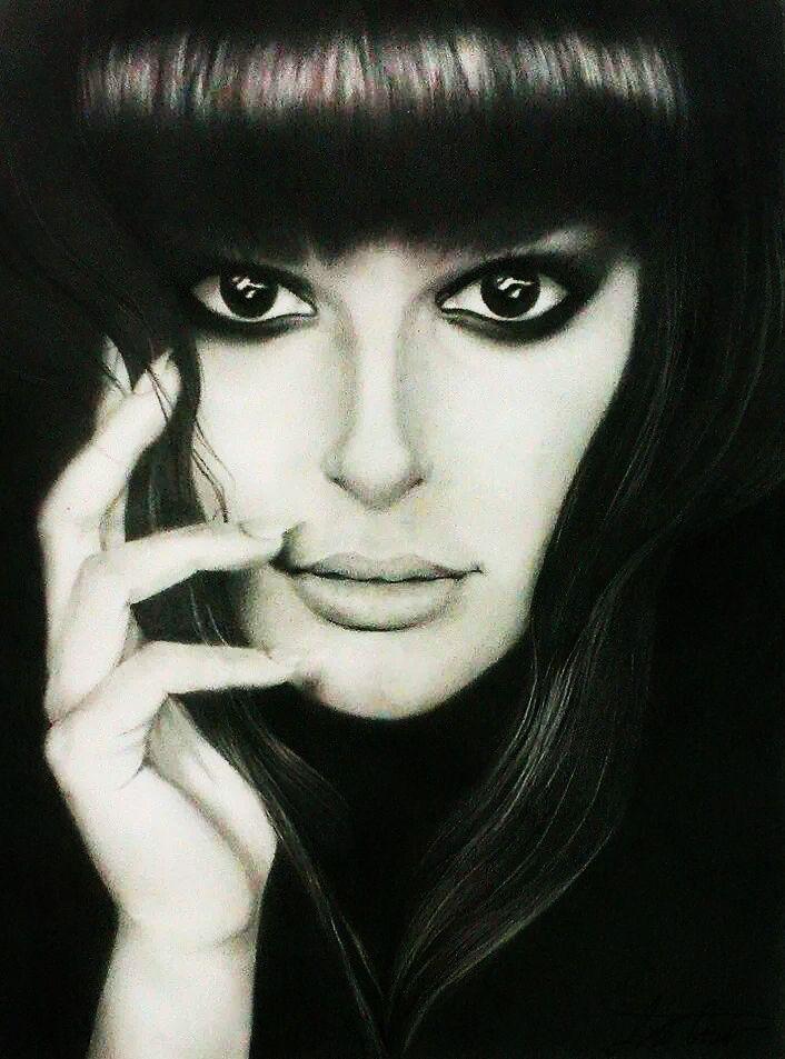 Retrato de Lea Michele (grafito - 40x50 cm).