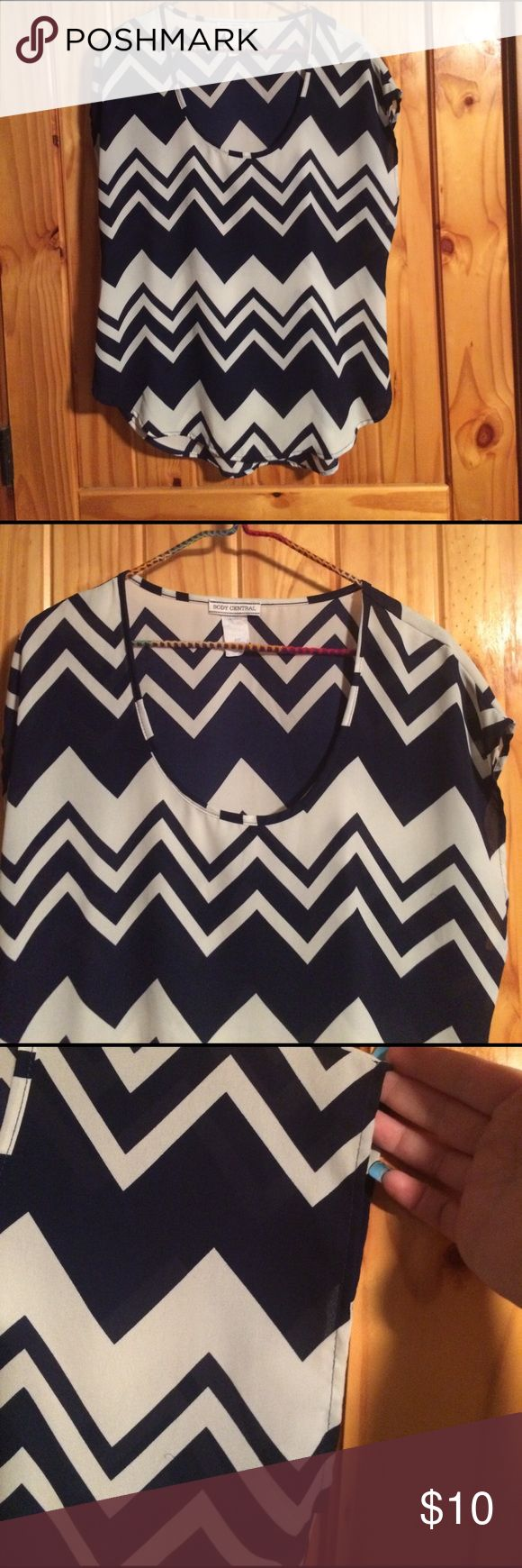 Chevron Pattern Top Dark blue and white chevron pattern Top. NWOT Body Central Tops Blouses