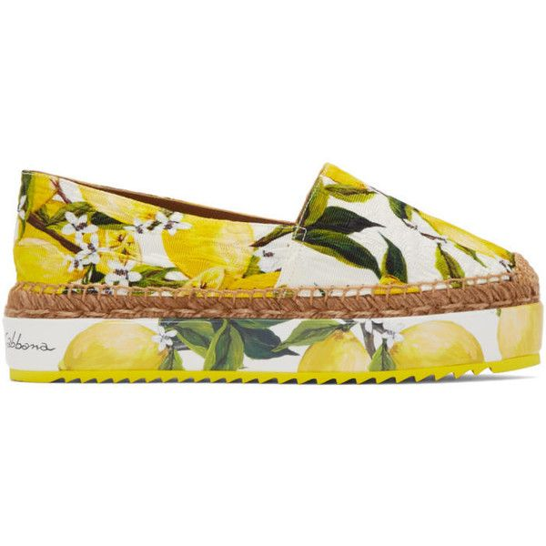 Dolce and Gabbana Yellow and White Lemons Espadrilles (19.980 RUB) ❤ liked on Polyvore featuring shoes, sandals, yellow, dolce gabbana sandals, yellow espadrilles, yellow platform shoes, dolce gabbana shoes and yellow sandals