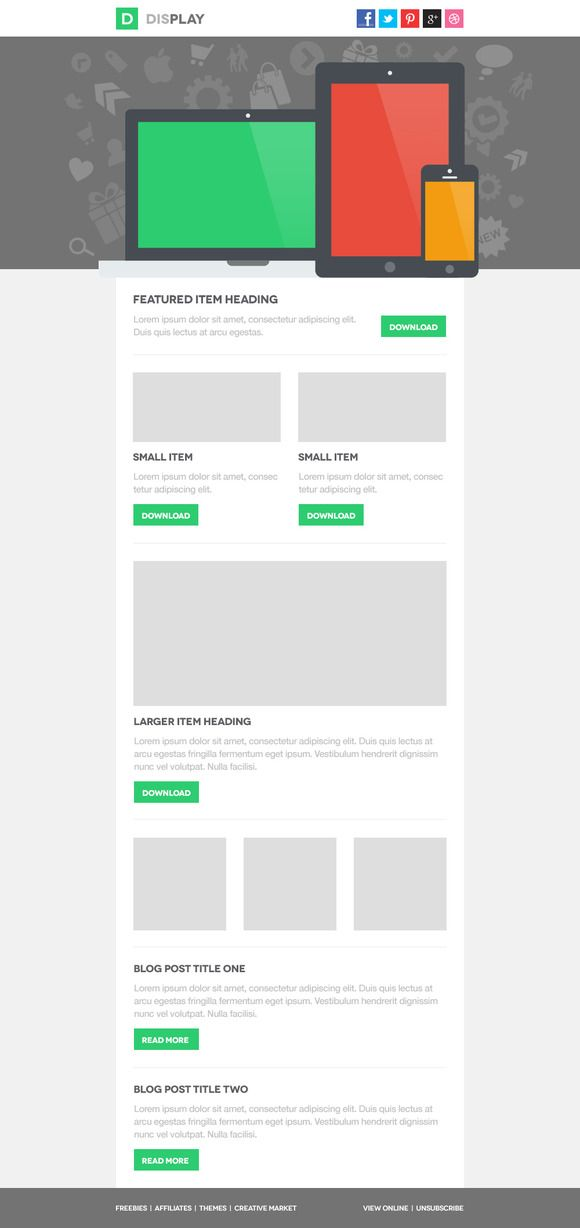 Display Responsive Email Template ~ Website Templates on Creative Market