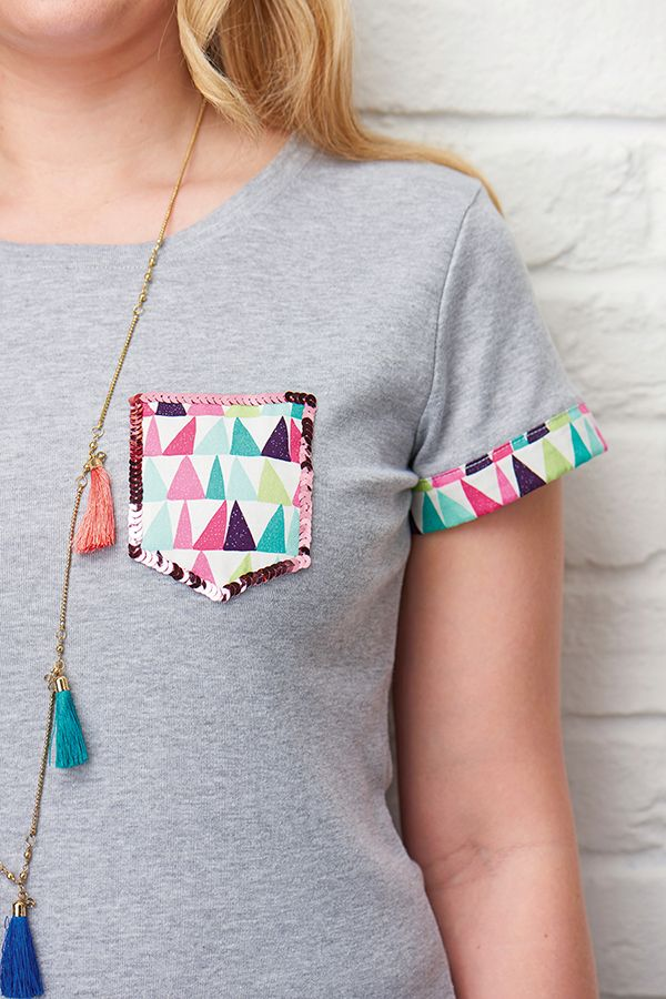 Sequin and fabric tshirt pocket sewing pattern