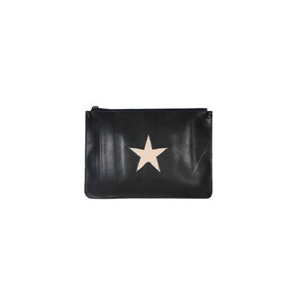 Cross Body Bag in Navy-Blue Leather and Pink Star by Stella Rittwagen. www.dwappo.com