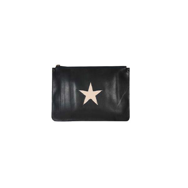 Cross Body Bag in Navy-Blue Leather and Pink Star by Stella Rittwagen. www.dwappo.com