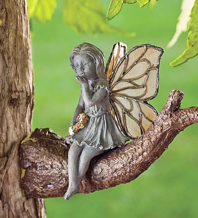 fairy sitting on a branchGardens Accent, Fairies Gardens, Kisses Fairies, Gardens Trees, Trees Branches, Gardens Theme, Tree Branches, Gardens Statues, Gardens Fairies