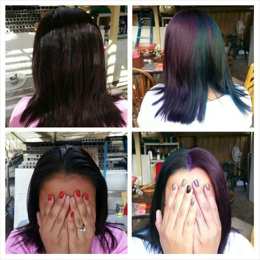 This is what happens when you play with color.. you're scalp and hands turn purple/blue/green lol... I think I need to ads more blue, I was going for teal, but since my haute didn't lighten enough in the front, looks too green... #pravanavivids #rusk #haircolor #funwithcolor #halfandhalf #purplehair #tealhair