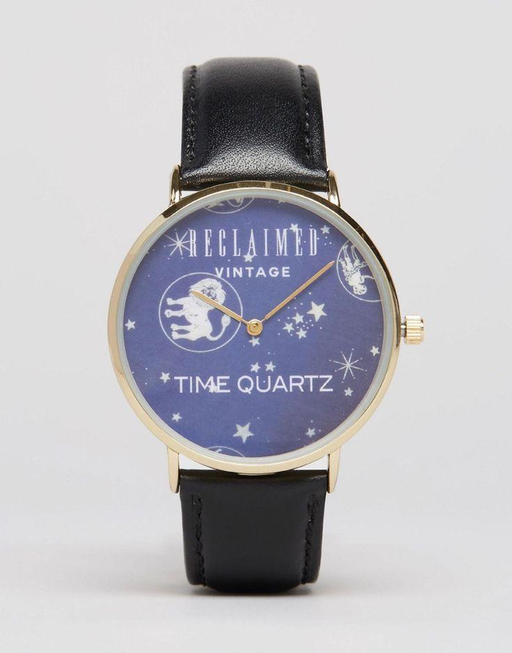 Imagen 1 de Reloj con correa de cuero y estampado espacial de Reclaimed Vintage