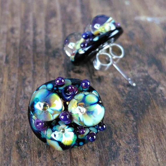 boho stud earrings//flower stud earrings//surgical steel
