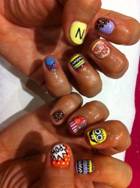 Best Cool Nail Designs Images On Pinterest Finger Nails Hair - Spongebob nail decals