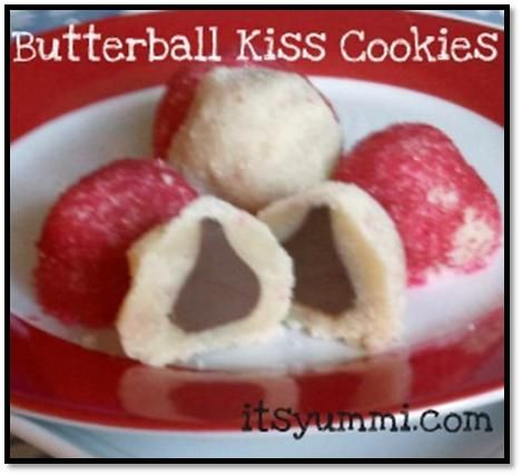 Butterball kiss cookies from ItsYummi.com~~~~~~~ I would roll them in white sugar to look like snowballs.