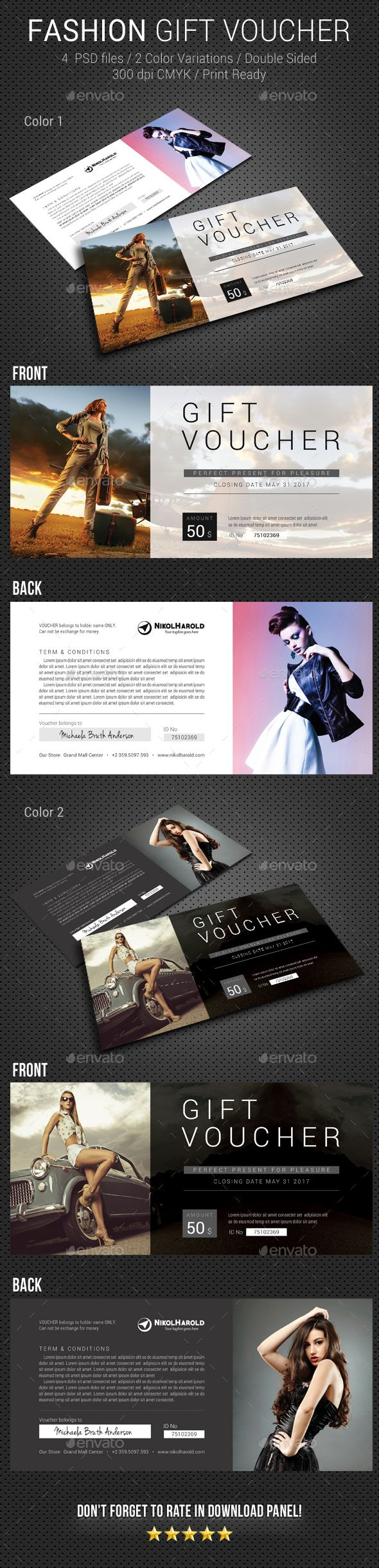 Fashion #Gift Voucher - Loyalty #Cards Cards & #Invites Download here: https://graphicriver.net/item/fashion-gift-voucher/19447468?ref=alena994