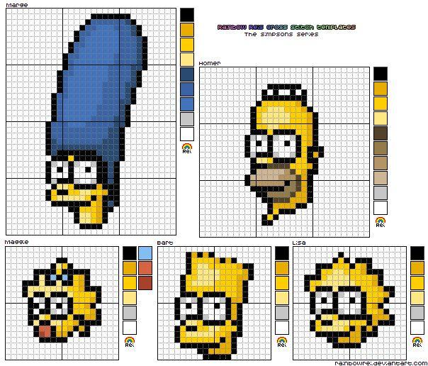 Para os fanáticos dos Simpson hoje temos um artesanato ideal; você poderá bordá-los com estes gráficos de ponto cruz dos Simpson, a família mais maluca do pedaço. Você poderá bordá-los onde desejar, estes gráficos são todo um charm