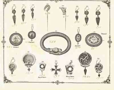 Designs for Victorian mourning jewelry