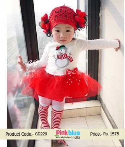 Kids Christmas Collection 2015 - Baby Girl Christmas Dress, Designer Red Christmas Party Dress, Cute Full Sleeves Princess Dress, Snowman print, net flare with ribbon bow for Infant & Toddler Girls Size - 3, 6, 12, 18, 24 Months