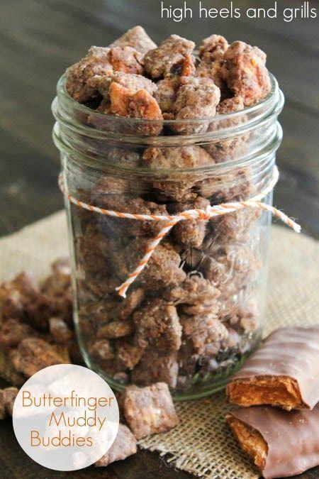 Butterfinger Muddy Buddies. Best. Muddy Buddies. Ever. #recipe #sweet http://www.highheelsandgrills.com/2013/10/butterfinger-muddy-buddies.html