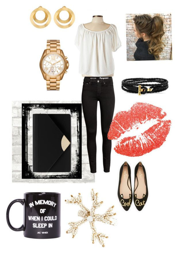 """""""Not Everything is Black and White"""" by loving-lindsay ❤ liked on Polyvore featuring Kate Spade, Michael Kors, Anissa Kermiche, MICHAEL Michael Kors, Jac Vanek and Saro"""