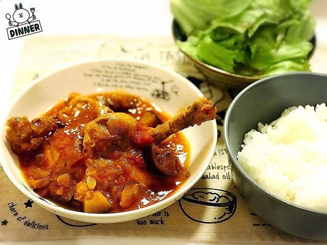 昨夜のメニューは鶏肉のラタトゥイユ風。 #夕食 #夕飯 #晩飯 #晩ごはん #夜ごはん #ディナー #ラタトゥイユ #鶏肉 #チキン #トマト #フランス #料理 #ごはん #肉 #じゃがいも #dinner #ratatoullie #chicken #tomato #france #frenchie #cooking #meat #rice #potato #骨付鳥