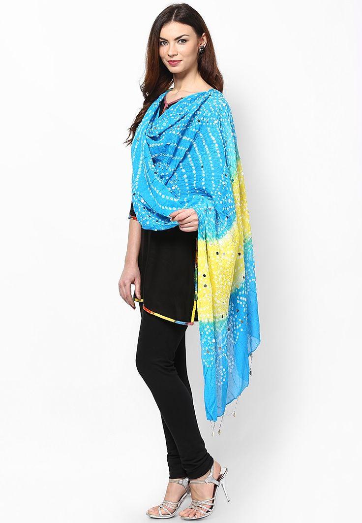 Bandhej & Handwork Blue Dupatta $26.60 (24% OFF) https://www.dollyfashions.com/ruhaan-s-bandhej-handwork-blue-dupatta-3000450288.html