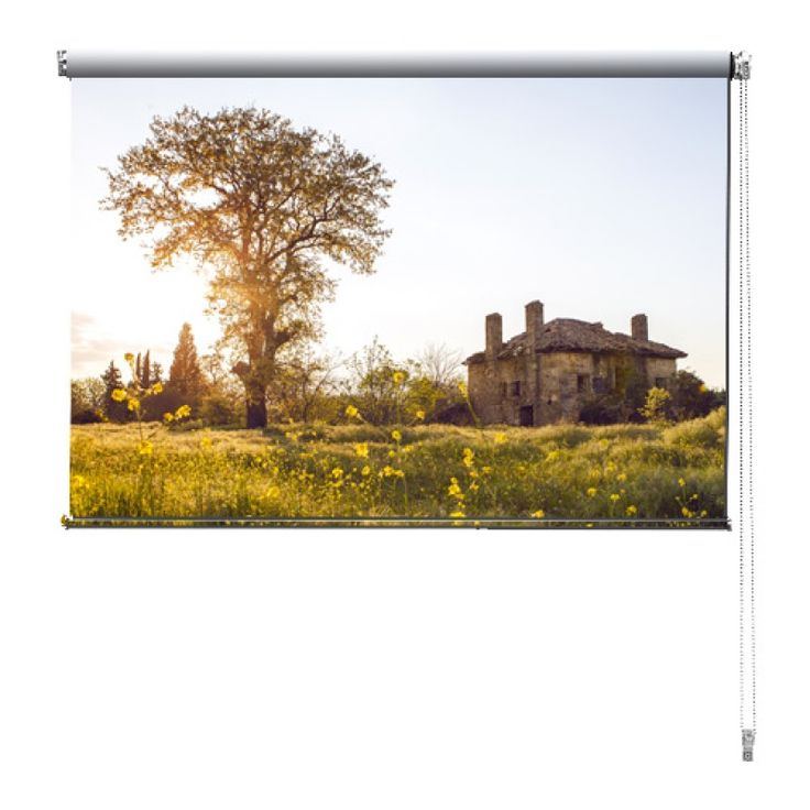 Rolgordijn Frans landschap | De rolgordijnen van YouPri zijn iets heel bijzonders! Maak keuze uit een verduisterend of een lichtdoorlatend rolgordijn. Inclusief ophangmechanisme voor wand of plafond! #rolgordijn #gordijn #lichtdoorlatend #verduisterend #goedkoop #voordelig #polyester #frans #frankrijk #landschap #geel #zon #huisje