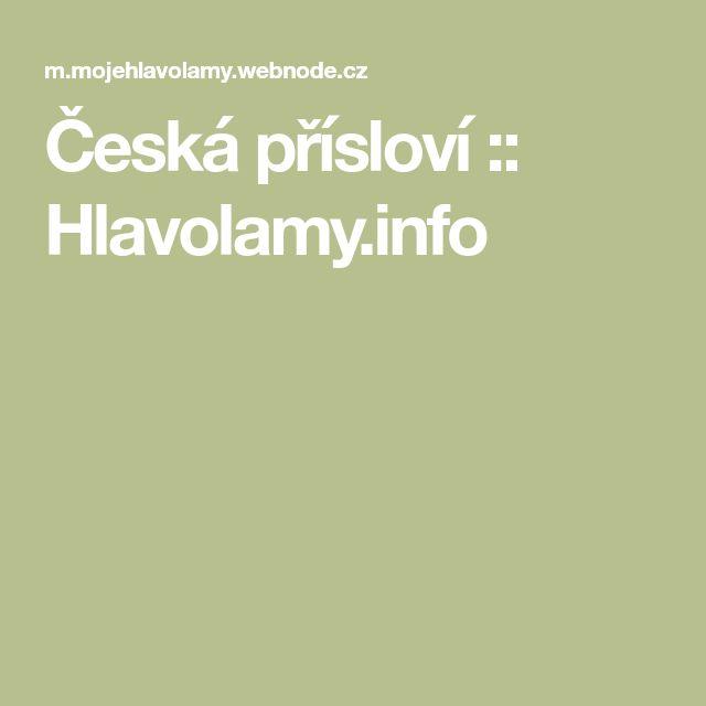 Česká přísloví :: Hlavolamy.info