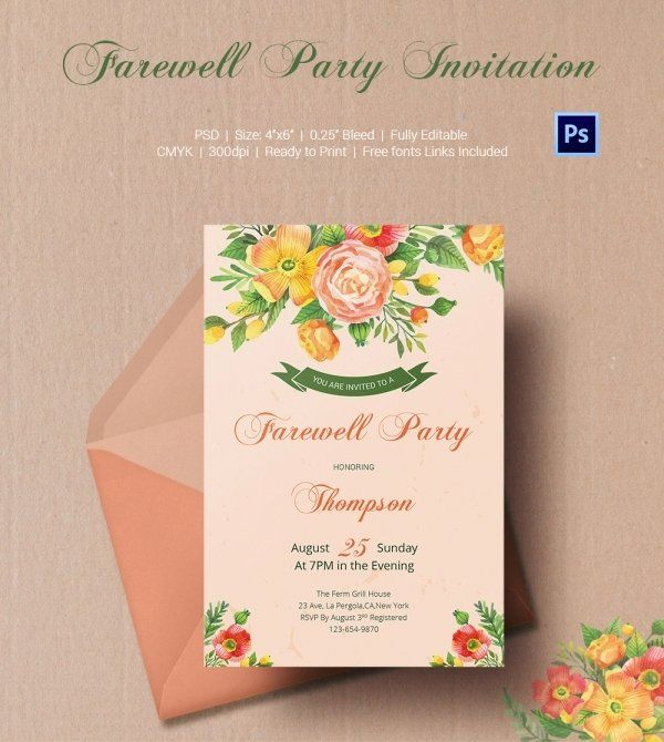 Beautiful Farewell Party Invitation Template Free In 2020