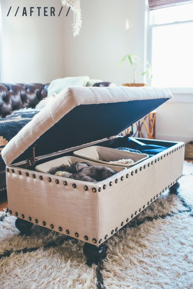 If you have a storage ottoman that seems bottomless and cluttered every time you open it, divide it up with smaller canvas bins.   7 Easy Organizing Tricks You'll Actually Want To Try