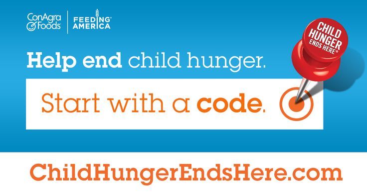 ive donated 16 meals already! So I just donated another meal to help fight child hunger in America. Want to help out, too? It's easy—just look for the red pushpin on specially marked packages of ConAgra Foods products and enter the code online. It's grocery shopping for a great cause!
