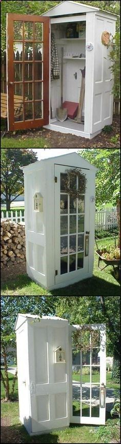 How To Build A Tool Shed From Repurposed Doors theownerbuilderne... This little shed is a great way to protect your garden tools and recycle some old doors that would otherwise become landfill.