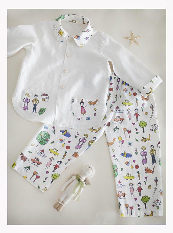 Linen Pajamas set Children pajamas Baby Boy pajamas